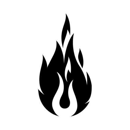 Fire Sign. Open Flame Symbol. Monochrome Icon Isolated on White Background. Trendy Symbol for Design and Websites, Presentation or Mobile Application