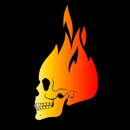 Human Skull in Fire. Demon, Fairy Tale Character. Esoteric. Drawing Isolated on Black. Sport Team Emblem, Design Elements and Labels, Wild West