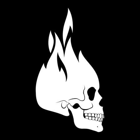 Human White Burning Skull. Demon, Fairy Tale Character. Esoteric. Monochrome Drawing Isolated on Black. Shop, and any Related Business