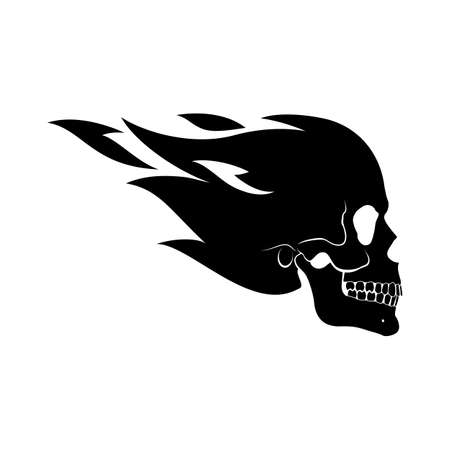 Flying Fire Skull Illustration Design Template. Suitable for Creative Industry, Multimedia, Entertainment. Monochrome Drawing Isolated on White