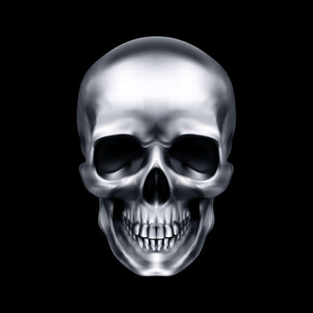 Human Metallic Skull. The Concept of Death, Horror. A Symbol of Spooky Halloween. Isolated Object on a Black Background, Can be Used with any Image Illustration