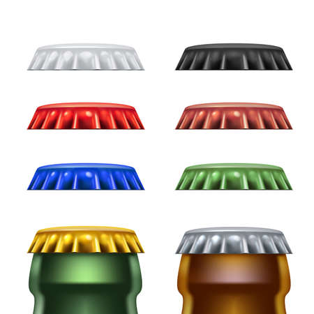 Realistic Detailed Metal Caps from a Beer Bottle Alcohol Drink Front View. Isolated Mock Up Template on White Background