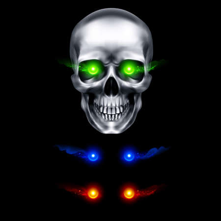 Human Metallic Skull with Green Flaming Eyes. The Concept of Death, Horror. A Symbol of Spooky Halloween. Isolated Object on a Black Background, Can be Used with any Image