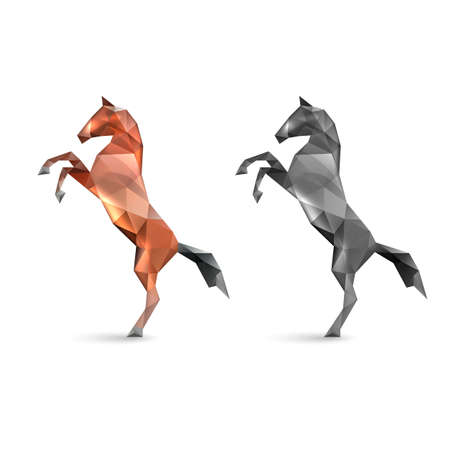 Twin Horses Rearing up Designed Using Polygon. Image Silhouettes of a Reared Horses on White Background with Light Effects in Glass or Crystals