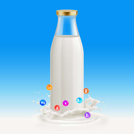 White Yogurt Milk Plastic Bottle. Illustration Isolated On Blue Background. Glass Bottle with Milk. Useful and Vitamins Template with Splash