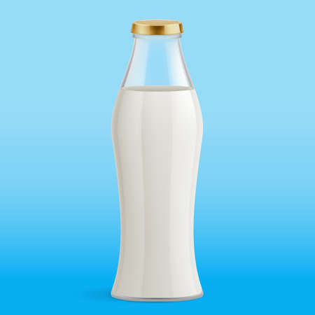 White Milk Pack Package Packaging Glass Bottle. Illustration Isolated on Blue Background. Glass Bottle with Milk. Traditional Old Fashioned Glass Milk Bottle 向量圖像