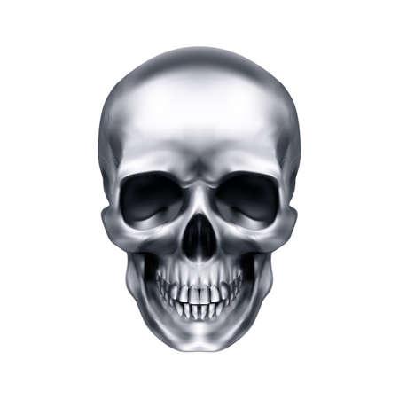 Cranio metallico umano. Il concetto di morte, orrore. Un simbolo di Halloween spettrale. Oggetto isolato su sfondo bianco, utilizzabile con qualsiasi immagine