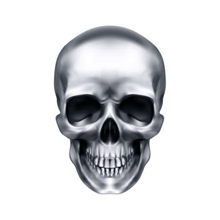 Human Metallic Skull. The Concept of Death, Horror. A Symbol of Spooky Halloween. Isolated Object on a White Background, Can be Used with any Image