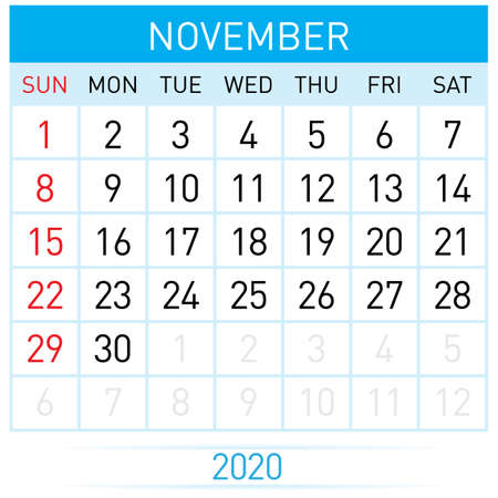 November Planner Calendar. Illustration of Calendar in Simple and Clean Table Style for Template Design on White Background. Week Starts on Sunday