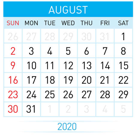 August Planner Calendar. Illustration of Calendar in Simple and Clean Table Style for Template Design on White Background. Week Starts on Sunday