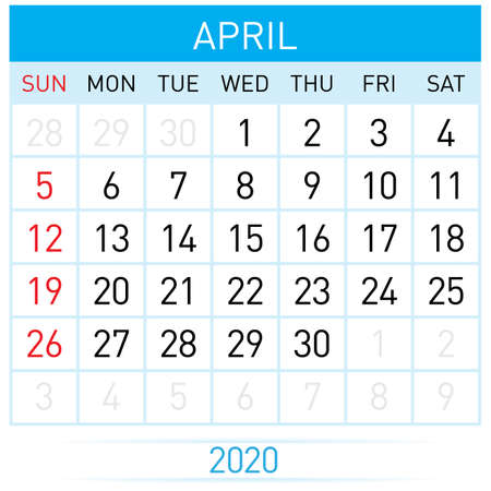 April Planner Calendar. Illustration of Calendar in Simple and Clean Table Style for Template Design on White Background. Week Starts on Sunday