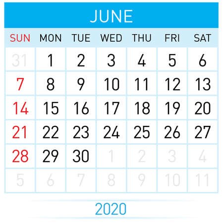 June Planner Calendar. Illustration of Calendar in Simple and Clean Table Style for Template Design on White Background. Week Starts on Sunday Иллюстрация