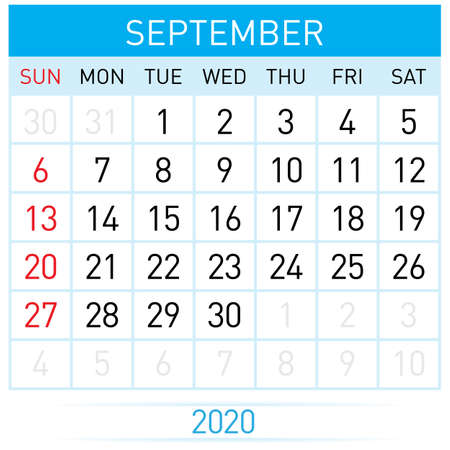 September Planner Calendar. Illustration of Calendar in Simple and Clean Table Style for Template Design on White Background. Week Starts on Sunday