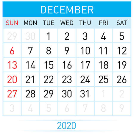 December Planner Calendar. Illustration of Calendar in Simple and Clean Table Style for Template Design on White Background. Week Starts on Sunday Иллюстрация