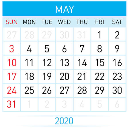May Planner Calendar. Illustration of Calendar in Simple and Clean Table Style for Template Design on White Background. Week Starts on Sunday