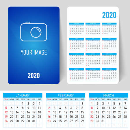Set Desk Calendar Template Design with Place for Photo and Company Logo. Spring, Summer Autumn and Winter. Week starts on Sunday. Colorful, Printable and Editable Design of Calendar