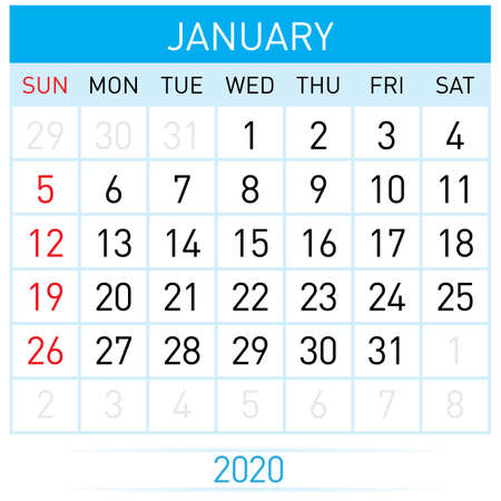January Planner Calendar. Illustration of Calendar in Simple and Clean Table Style for Template Design on White Background. Week Starts on Sunday