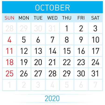 October Planner Calendar. Illustration of Calendar in Simple and Clean Table Style for Template Design on White Background. Week Starts on Sunday Иллюстрация