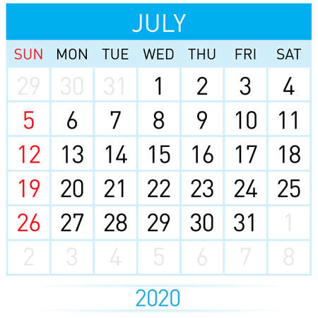 July Planner Calendar. Illustration of Calendar in Simple and Clean Table Style for Template Design on White Background. Week Starts on Sunday Иллюстрация