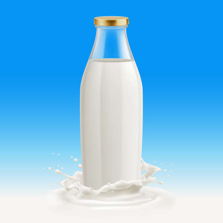 White Yogurt Milk Plastic Bottle. Illustration Isolated On Blue Background. Glass Bottle with Milk. Template with Splash 向量圖像