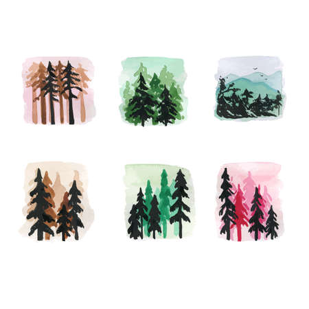 Set of Fir-tree Forest Isolated. Abstract Watercolor Free Hand Drawn Illustration for Postcard, Invitation, Banner for Design