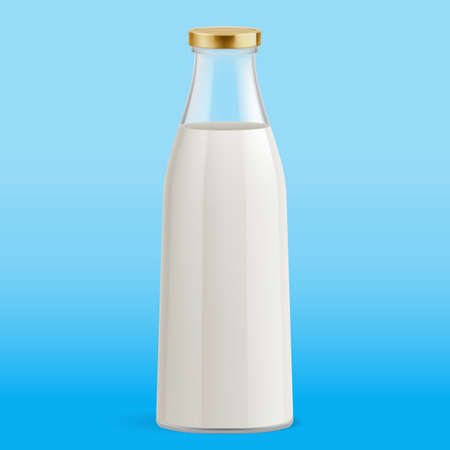 White Milk Pack Package Packaging Glass Bottle. Illustration on Blue Background. Glass Bottle with Milk. Traditional Old Fashioned Glass Milk Bottle 向量圖像