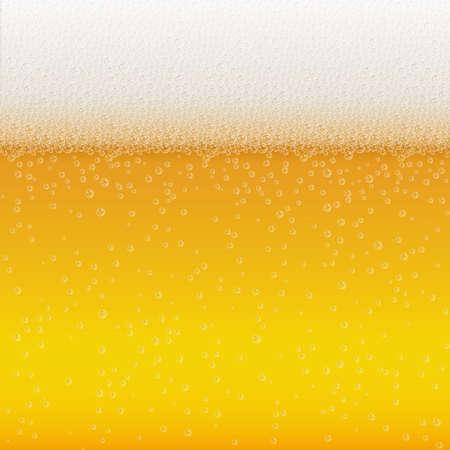 Burbujas realistas y espuma de cerveza blanca. Bebida líquida fresca para el diseño de menú de bar, pub o restaurante. Fondo de fiesta de cerveza horizontal amarillo en espuma. Vaso frío de cerveza para el diseño de cervecerías
