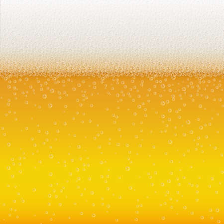 Realistic Bubbles and White Beer Foam. Cool Liquid Drink for Bar, Pub or Restaurant Menu Design. Yellow Horizontal Beer Fest Background in Foam. Cold Glass of Ale for Brewery Design