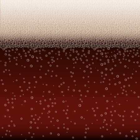 Realistic Bubbles and White Beer Foam. Cool Liquid Drink for Bar, Pub or Restaurant Menu Design. Dark Stout Porter Horizontal Beer Fest Background in Foam. Cold Glass of Ale for Brewery Design