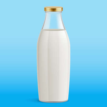 Milk Bottle Isolated on Blue Background. Glass Bottle with Milk. Traditional Old Fashioned Glass Milk Bottle. Mock Up Template Ready For Your Design 向量圖像