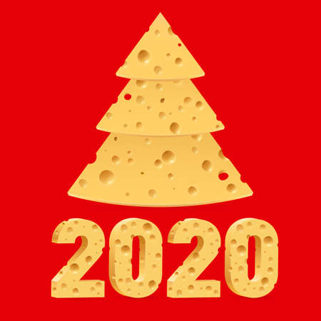 Creative Merry Christmas and Happy New Year 2020 Greeting Card. Year of the Mouse Symbol Christmas Tree Made from Cheese. Used as a Greeting Card, Flyer or Poster on Red Background