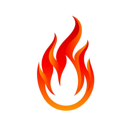 Flame Icon. Fire Spurts Logotype or Hot Burn Symbol. Warning About the Fire Danger Fire Attention Icon, Spicy Food Sign. Danger Warning Logo on White Background Illusztráció