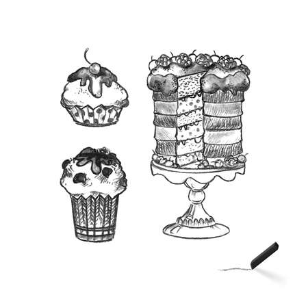 Cake Silhouette Black and White Illustration. Different Cakes Arranged in Set and Collection. Delicious and Sweet Food for Celebrations Outline Sketch on White Background