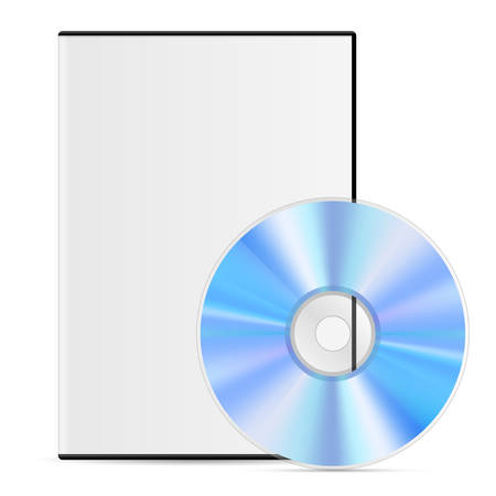 Cool Realistic white Case for DVD Or CD Disk with Disk. Illustration on White Background