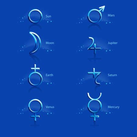 Collection of Astrological Planets Symbols on a Blue Backdrop. Signs Collection - Sun Earth Moon Saturn Uranus Neptune Jupiter Venus Mars Pluto Mercury Illustration
