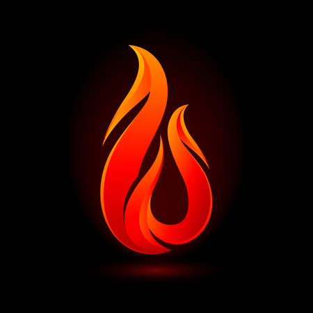 Abstract Fire Flame Logo with Shadow Effects. Fire Ignite with Orange Color Isolated on Black Background. Collection of Hot Cartoon Light Effect Elements for Creative Design Idea Illusztráció
