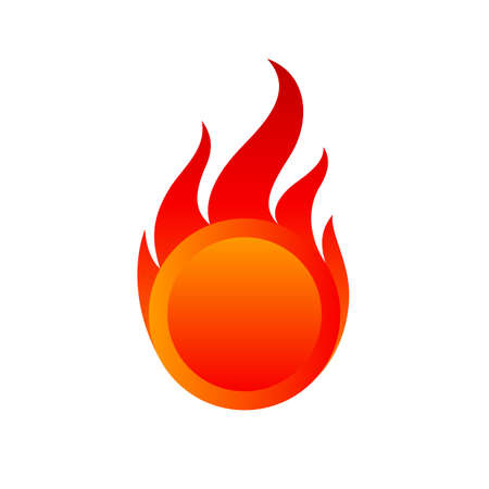 Ring Fire Flames Button Icon. Fire Flame Symbol Sign Isolated on White Background. Concept Illustration for Graphic and Web Design Illusztráció