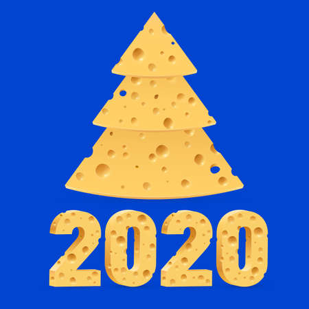 Creative Merry Christmas and Happy New Year 2020 Greeting Card. Year of the Mouse Symbol Christmas Tree Made from Cheese. Used as a Greeting Card, Flyer or Poster on Blue Background Ilustração