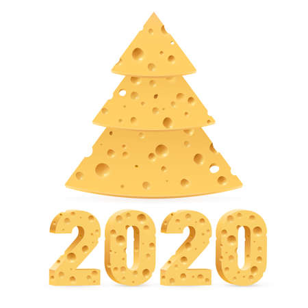 Creative Merry Christmas and Happy New Year 2020 Greeting Card. Year of the Mouse Symbol Christmas Tree Made from Cheese. Used as a Greeting Card, Flyer or Poster on White Background Ilustração