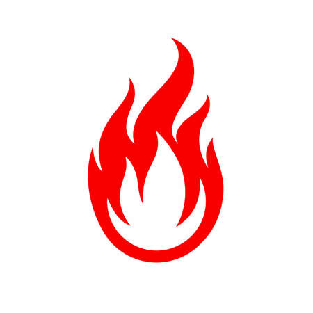 Flame Icon. Fire Spurts Logotype or Hot Burn Symbol. Warning About the Fire Danger Fire Attention Icon, Bonfire Illustration Illusztráció