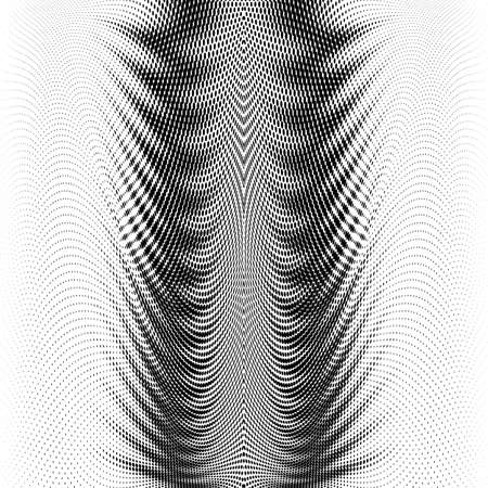Abstract Digital Gradually Transition Smooth Curved Lines From Dots Halftone. Design Element Technological Background with a Line in the Wave form Stylization of a Sound Wave Smooth