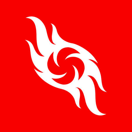 Abstract Fire Flames Icon Template. Fire flame Symbol Sign Isolated on Red Background. Illustration for Graphic and Web Design Illusztráció