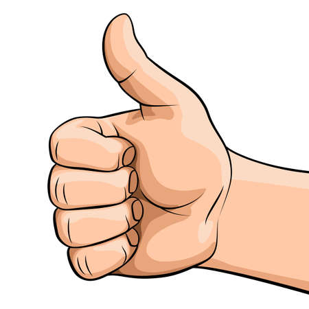 Hand Showing Symbol Like. Making Thumb up Gesture. Like Positive Fist on White Background. Sign for Web, Poster or Info Graphic