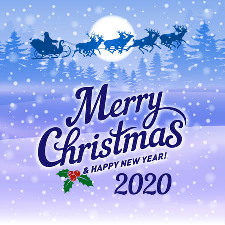 Illustration of Winter Evening Scene with Christmas Forest. Dark Festive Background with Text Merry Christmas and Happy New Year, Moon and Santa Claus Riding in a Sleigh