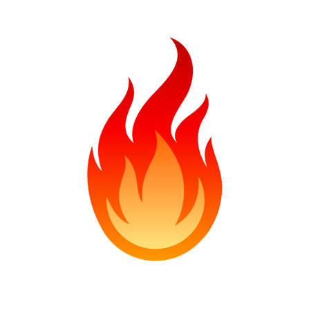 Flame Icon. Fire Spurts Logotype or Hot Burn Symbol. Warning About the Fire Danger Fire Attention Icon, Spicy Food Sign. Danger Warning  on White Backdrop Illusztráció