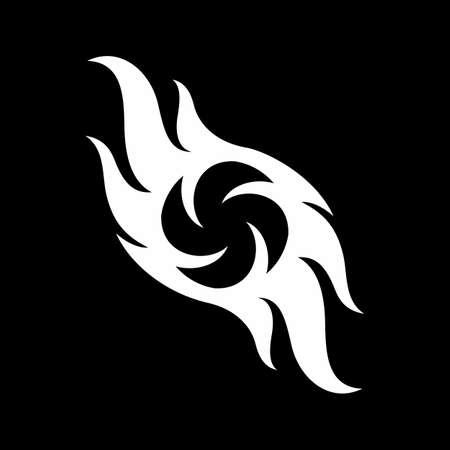 Abstract Simple Black and White Fire Flames Icon Template. Fire flame Symbol Sign Isolated on Black Background. Illustration for Graphic and Web Design