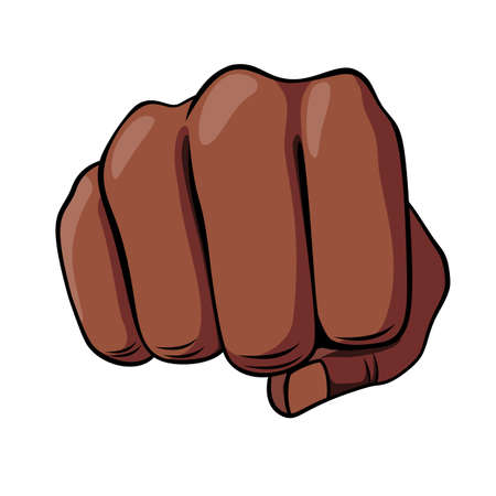 African Descent Human Hand Fist Punching or Hitting. Isolated on a White Background. Concept of Freedom or Aggressive Symbol