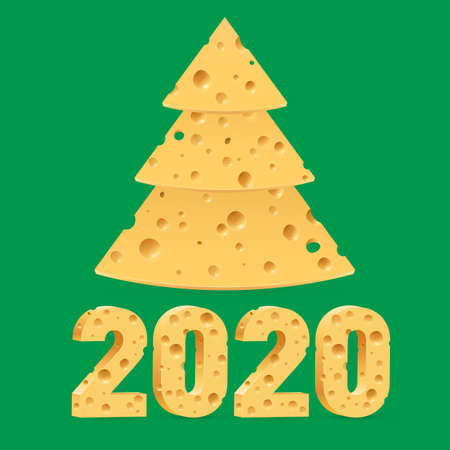 Creative Merry Christmas and Happy New Year 2020 Greeting Card. Year of the Mouse Symbol Christmas Tree Made from Cheese. Used as a Greeting Card, Flyer or Poster on Green Background