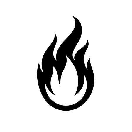 Simple Black and White Fire Symbol. Warning About the Fire Danger Fire Attention Icon. Spicy Food Sign.
