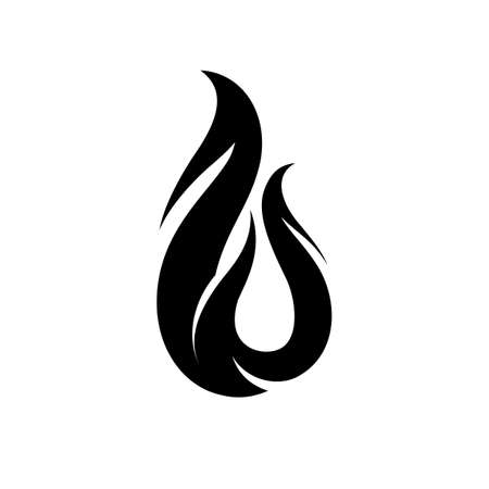 Abstract Black and White Icon of Fire . Ornamental Concept of Power Energy. Flat Style Trend Brand Design Illustration on White Background